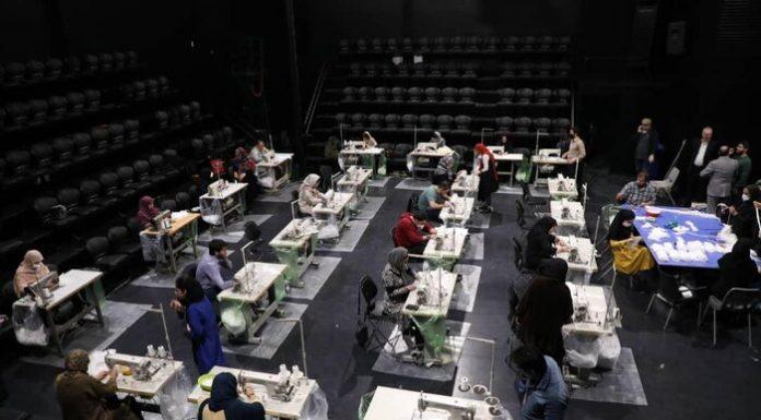 کارگاه تولید ماسک در تالار حافظ